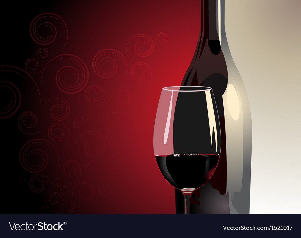Glass of red wine with a bottle vector image