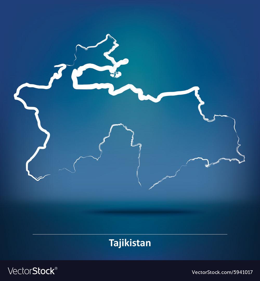 Doodle Map Of Tajikistan Royalty Free Vector Image - Tajikistan map vector