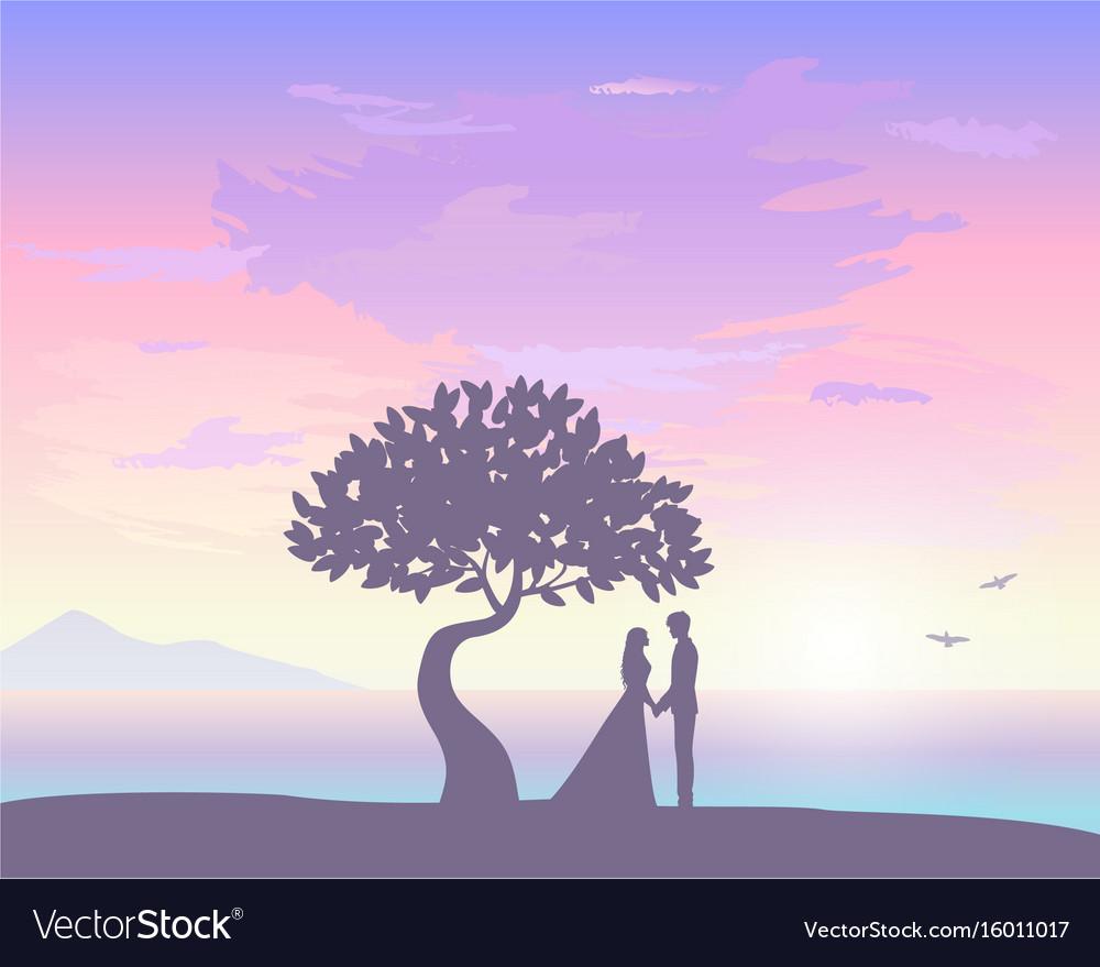 Sunset love vector image