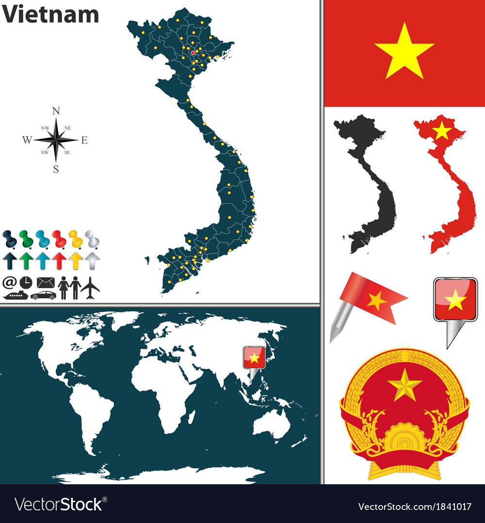 Vietnam map world Royalty Free Vector Image VectorStock