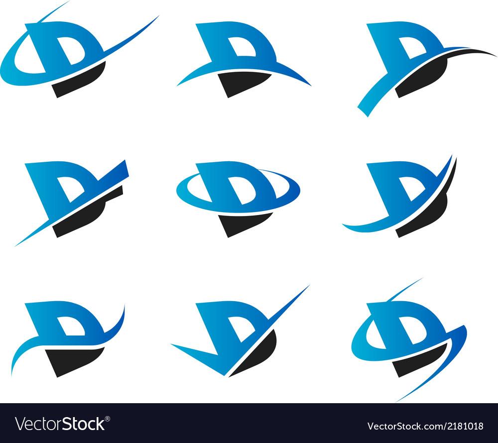 Alphabet D Logo Icons vector image