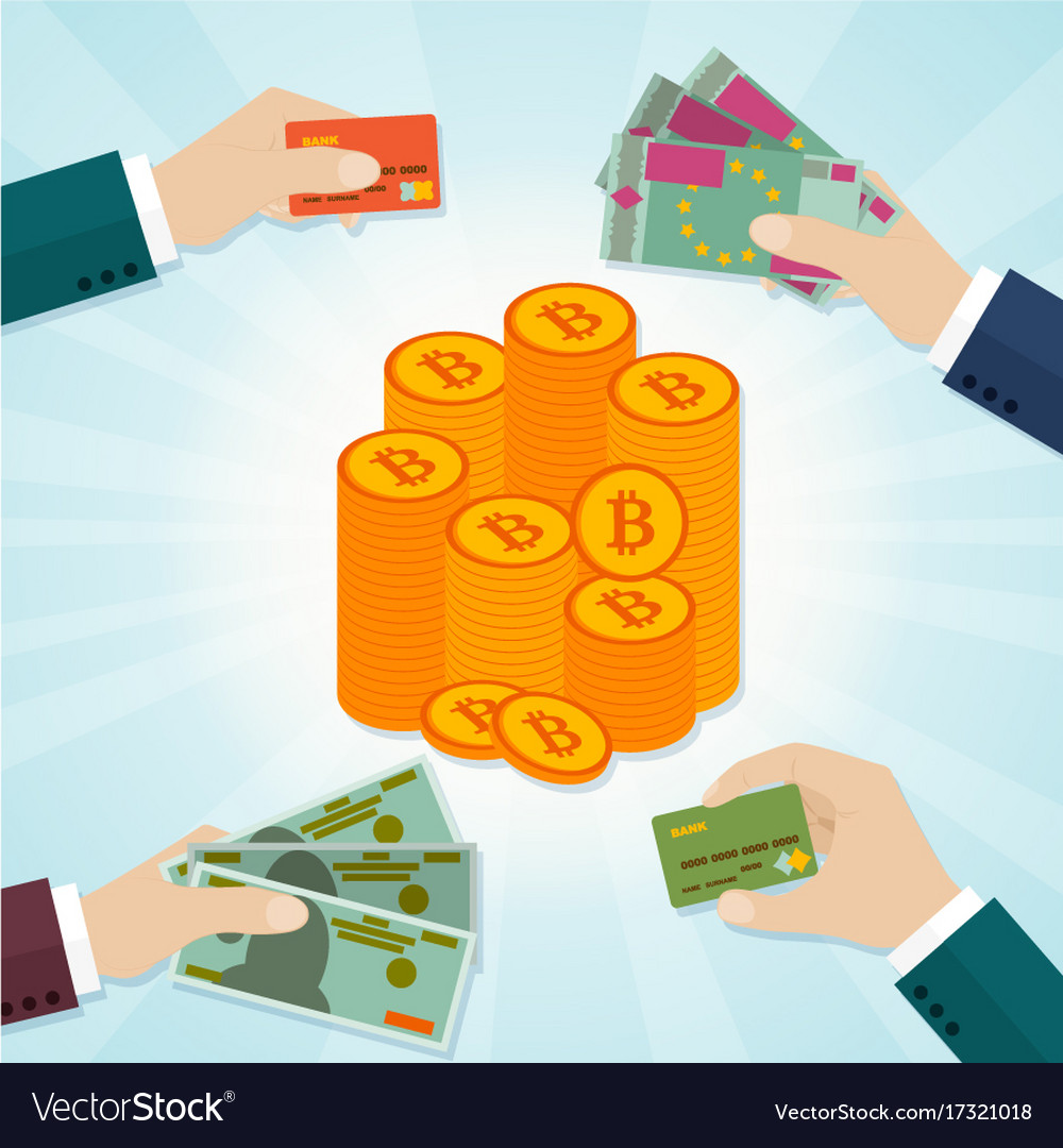 Hands Giving Card Or Money For Bitcoins Vector Image