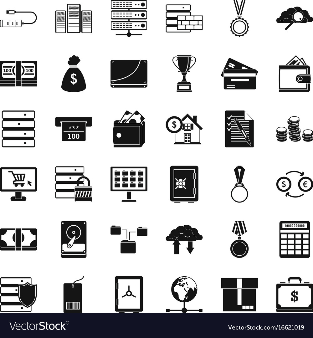 Business card icons set simple style Royalty Free Vector