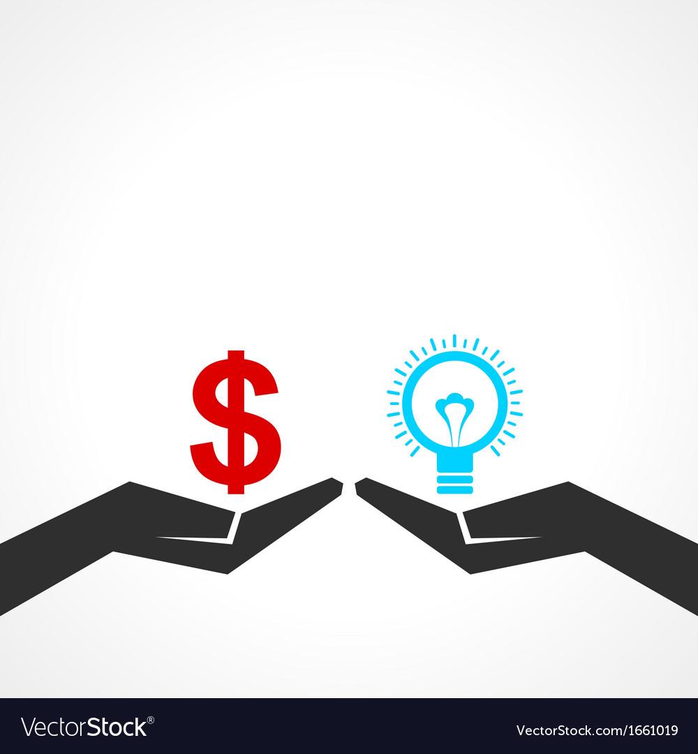 Compare money and idea concept vector image