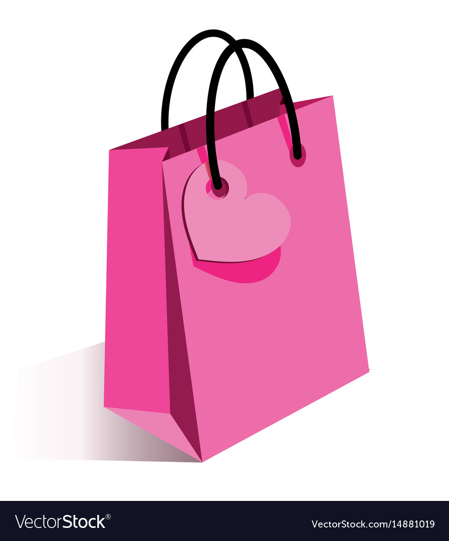 Pink shopping bag with heart vector image