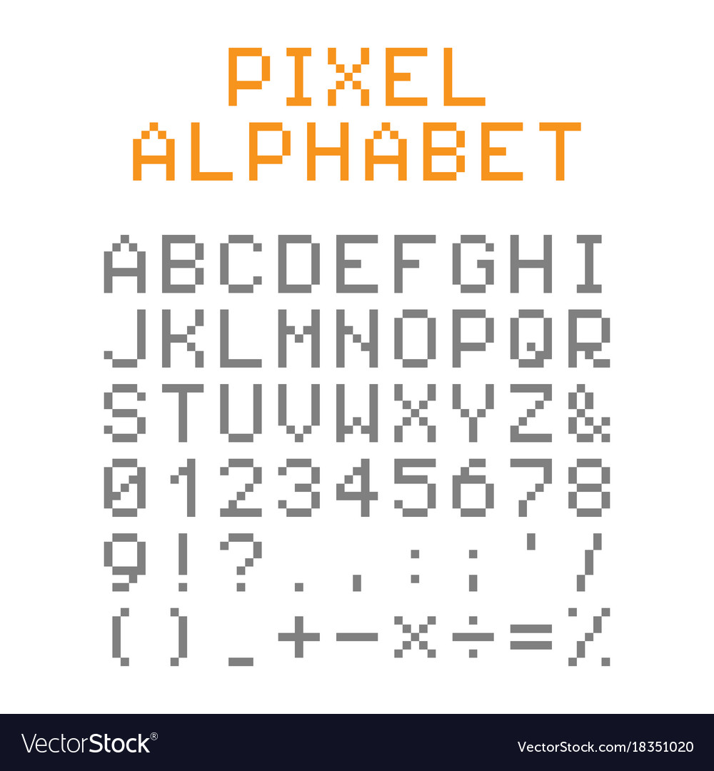Pixel English Alphabet And Numbers Royalty Free Vector Image