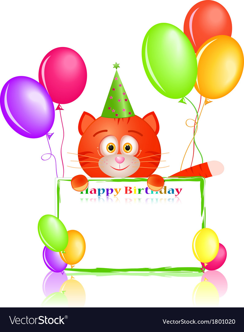 Red cat with greeting card and balloons on vector image