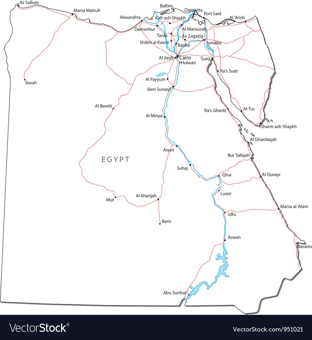 Egypt Black White Map Royalty Free Vector Image