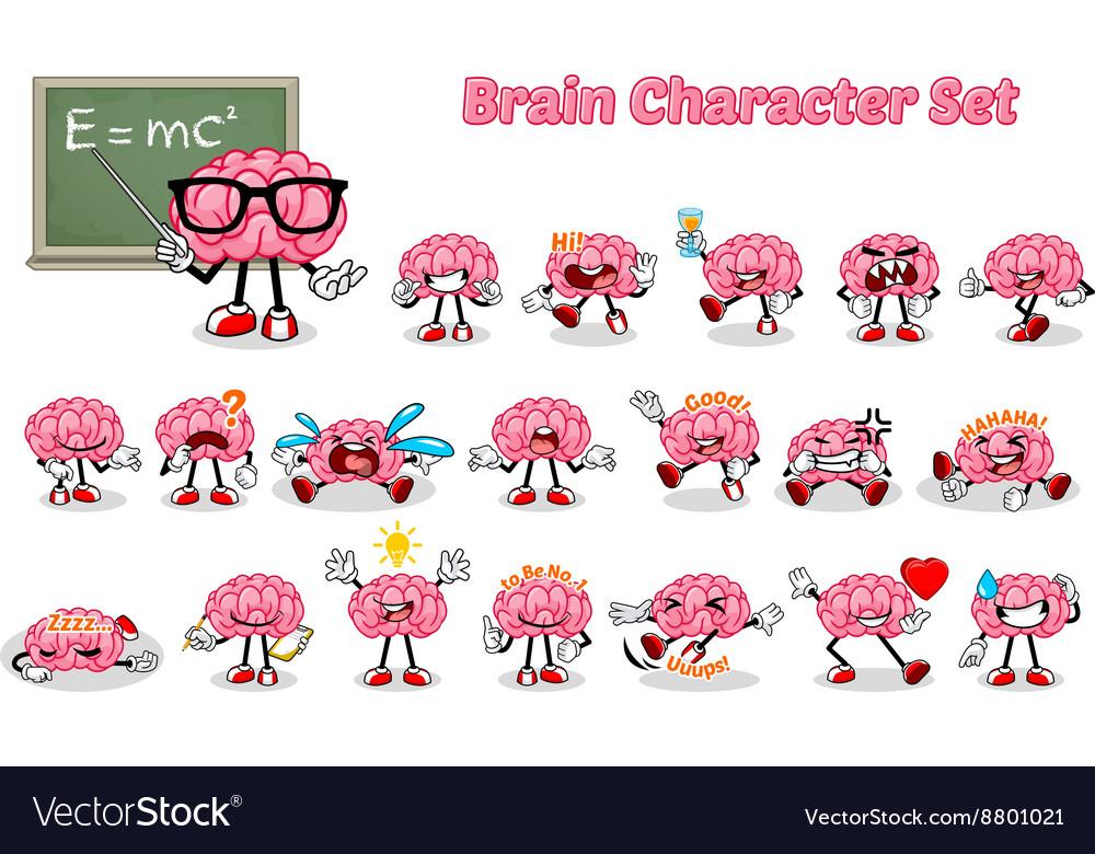 Set of Brain Cartoon Character vector image