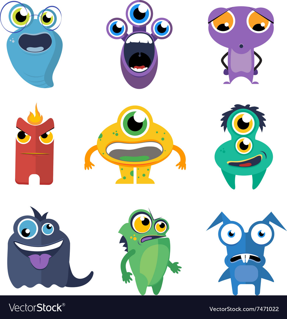 Cute monsters set in cartoon style vector image