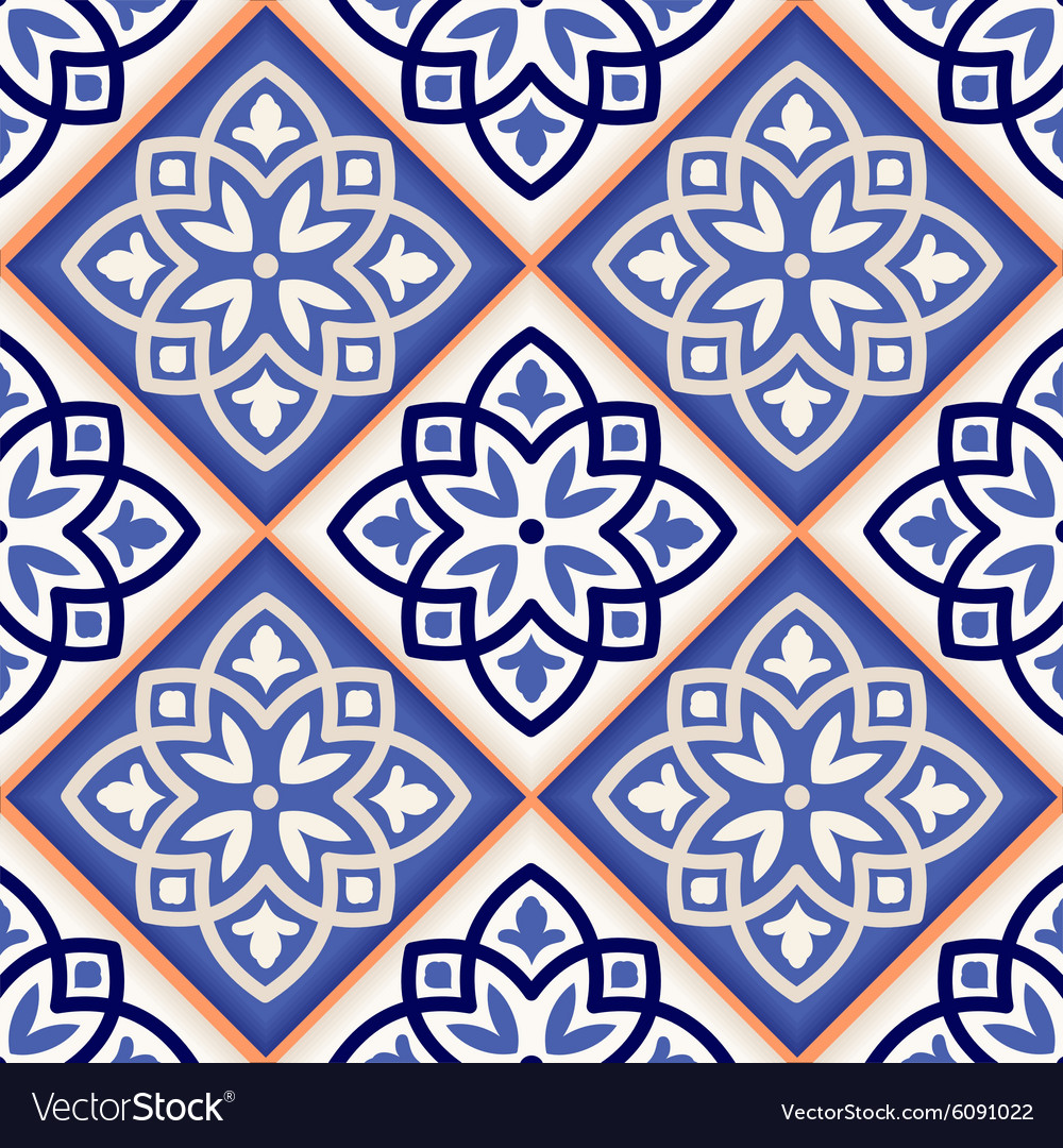 Seamless Moroccan tiles Royalty Free Vector Image