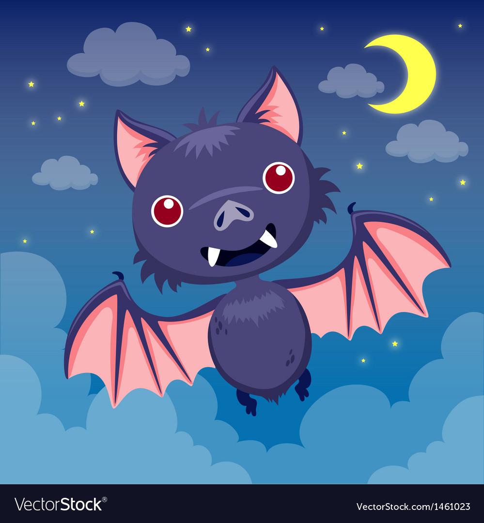 Bat on night sky vector image