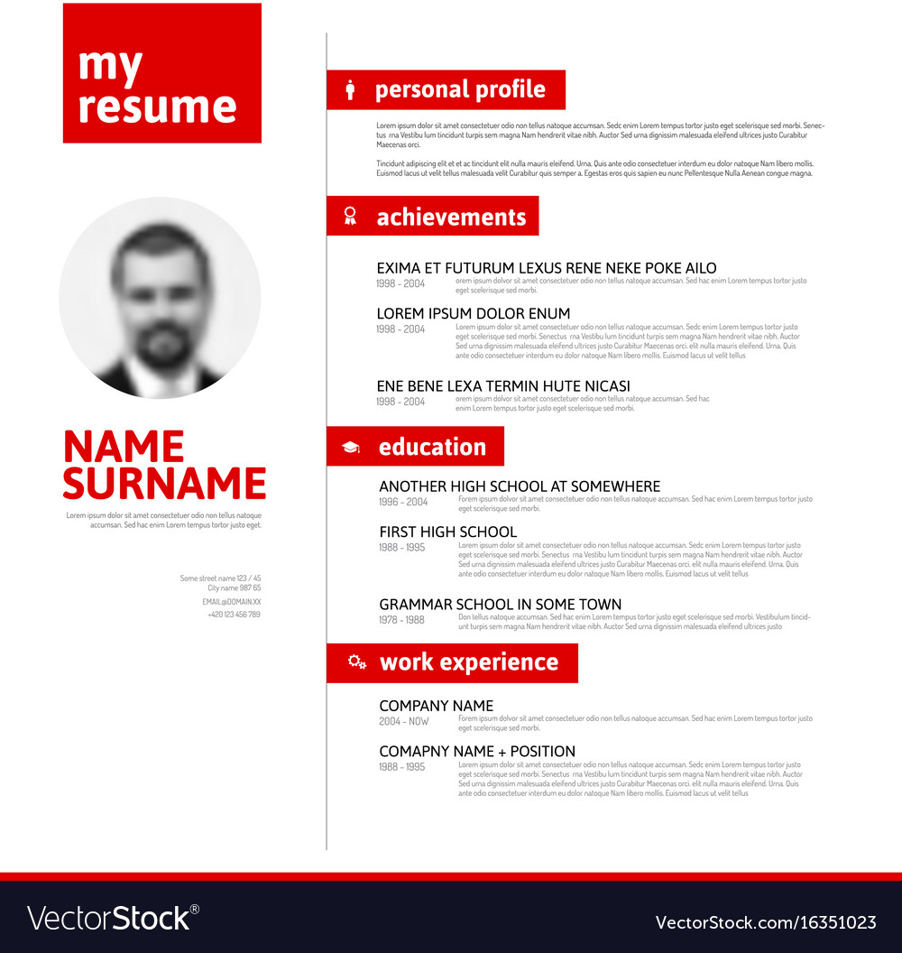cv resume template with nice typography vector image - Cv Or Resume