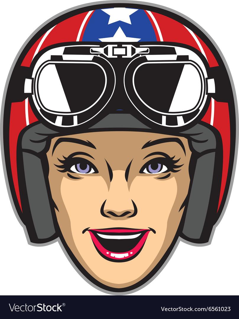 Women rider wearing motorcycle helmet vector image