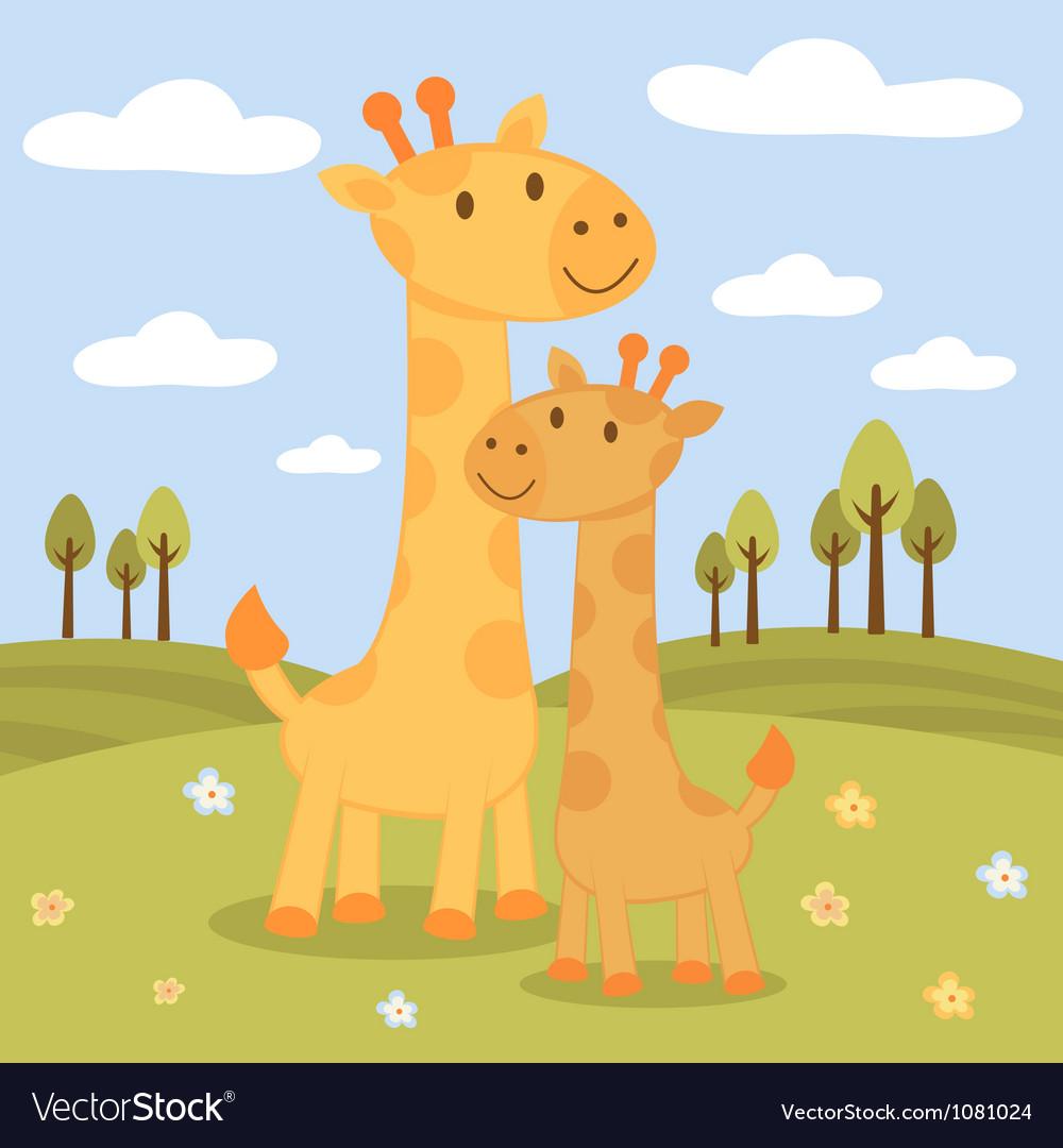Happy giraffes vector image