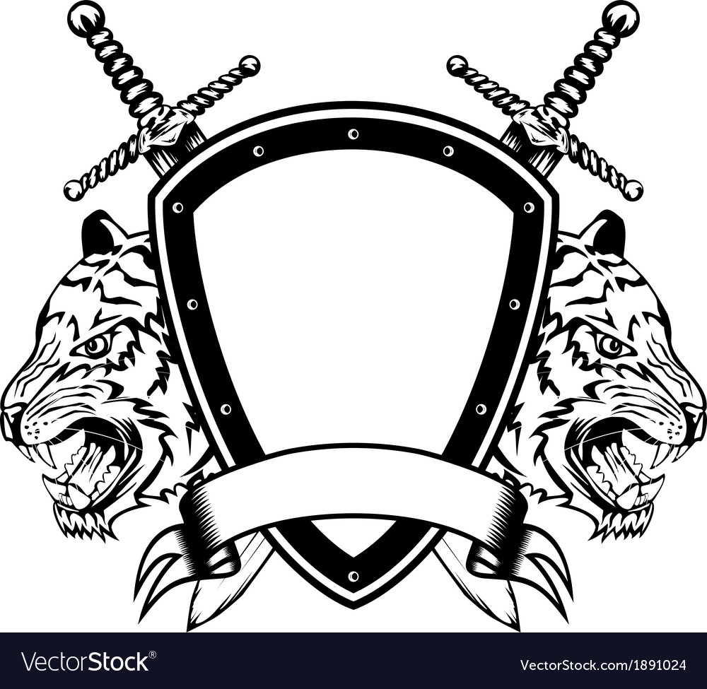 Head of tigers board and swords royalty free vector image head of tigers board and swords vector image biocorpaavc