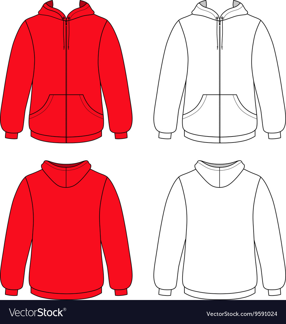 Hoodie sweater front back outlined view vector image