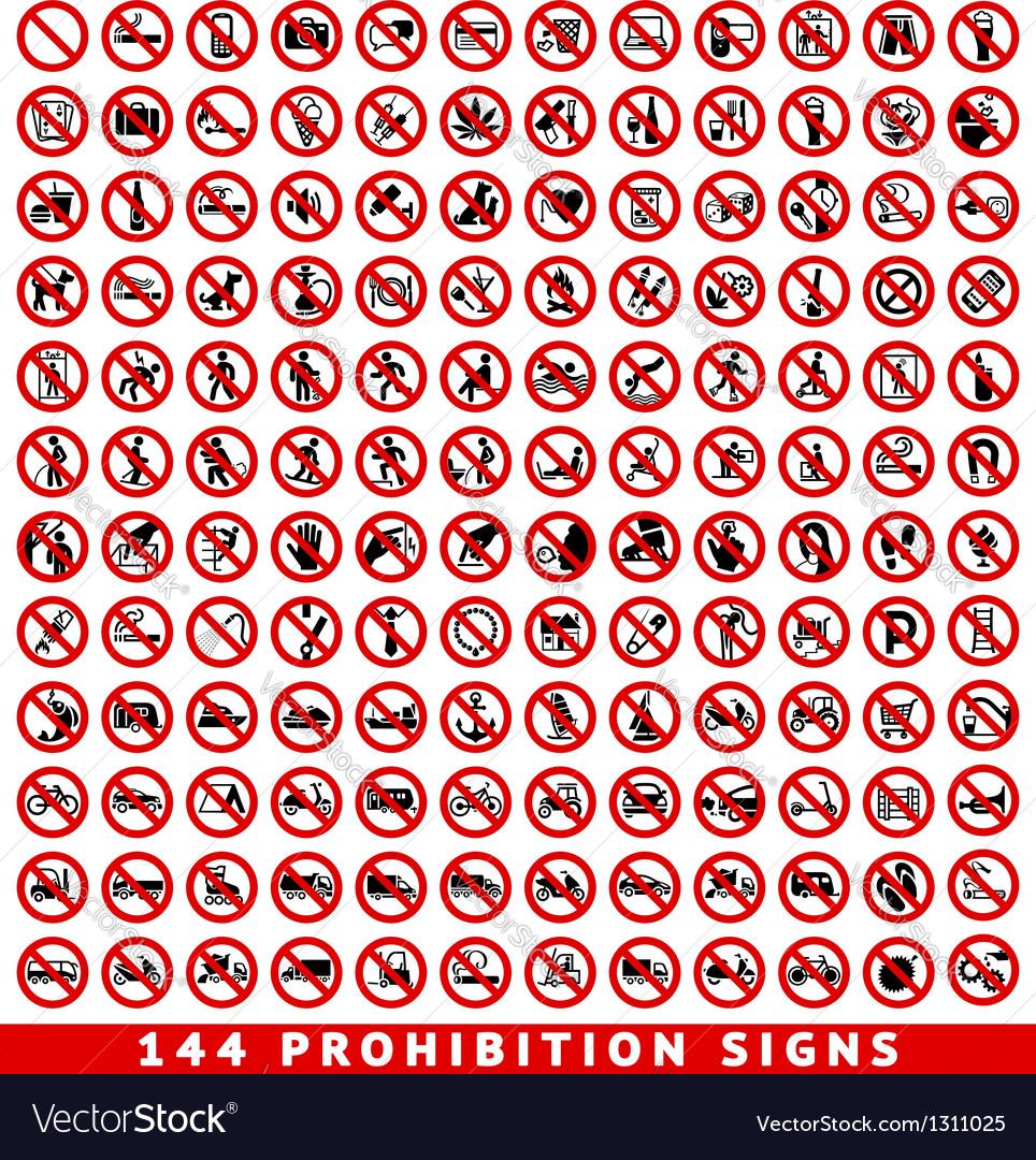 Prohibition signs big set vector image