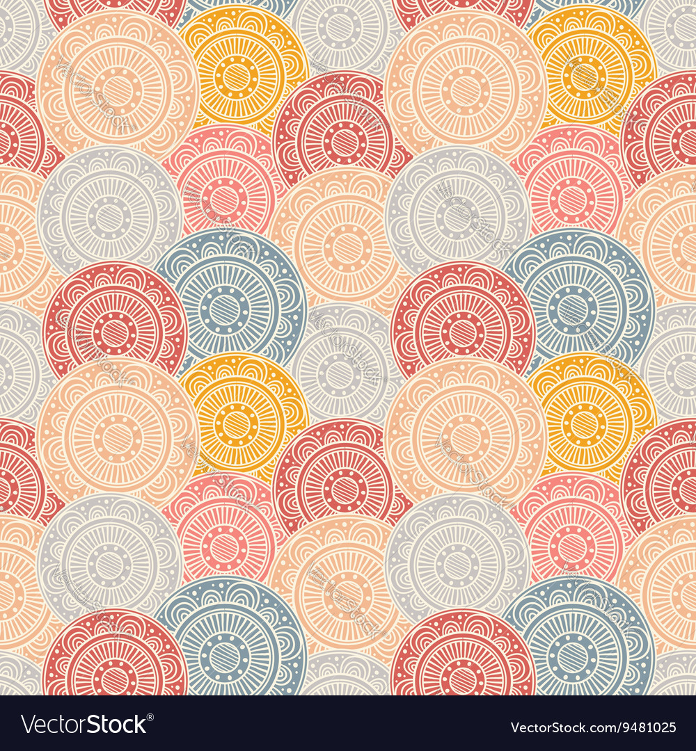 Colorful patterned circles seamless background vector image