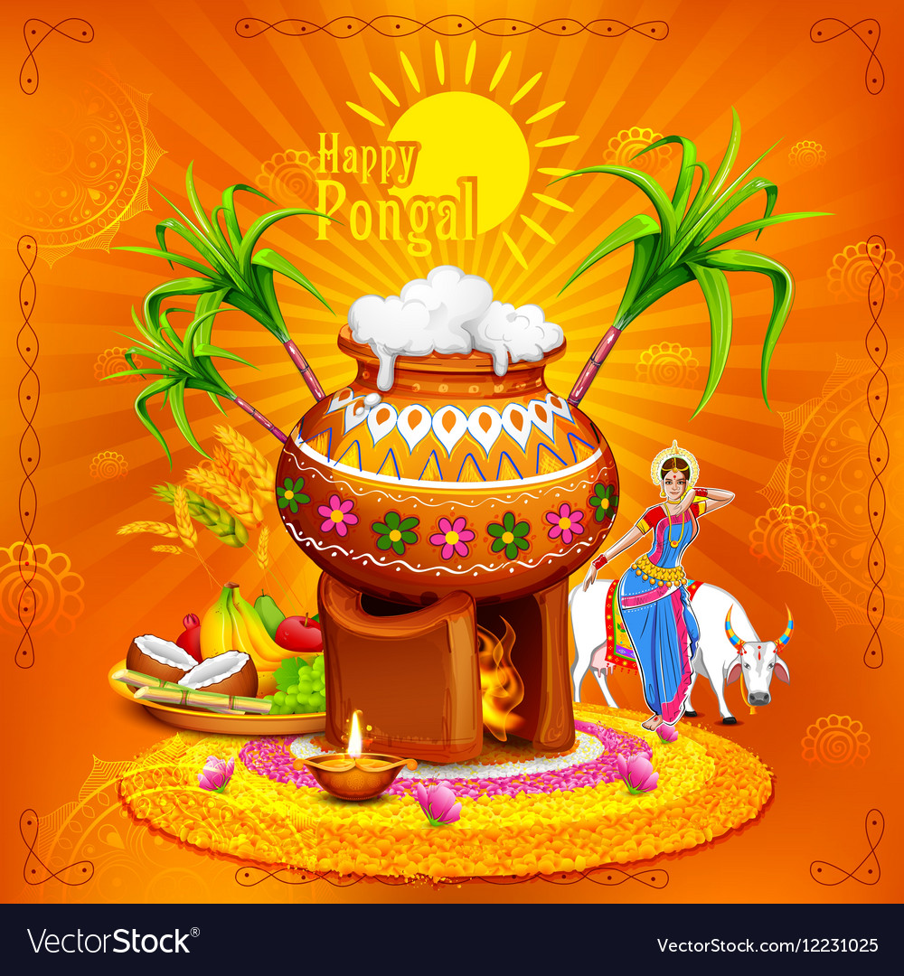 Happy pongal greeting background royalty free vector image happy pongal greeting background vector image m4hsunfo Choice Image