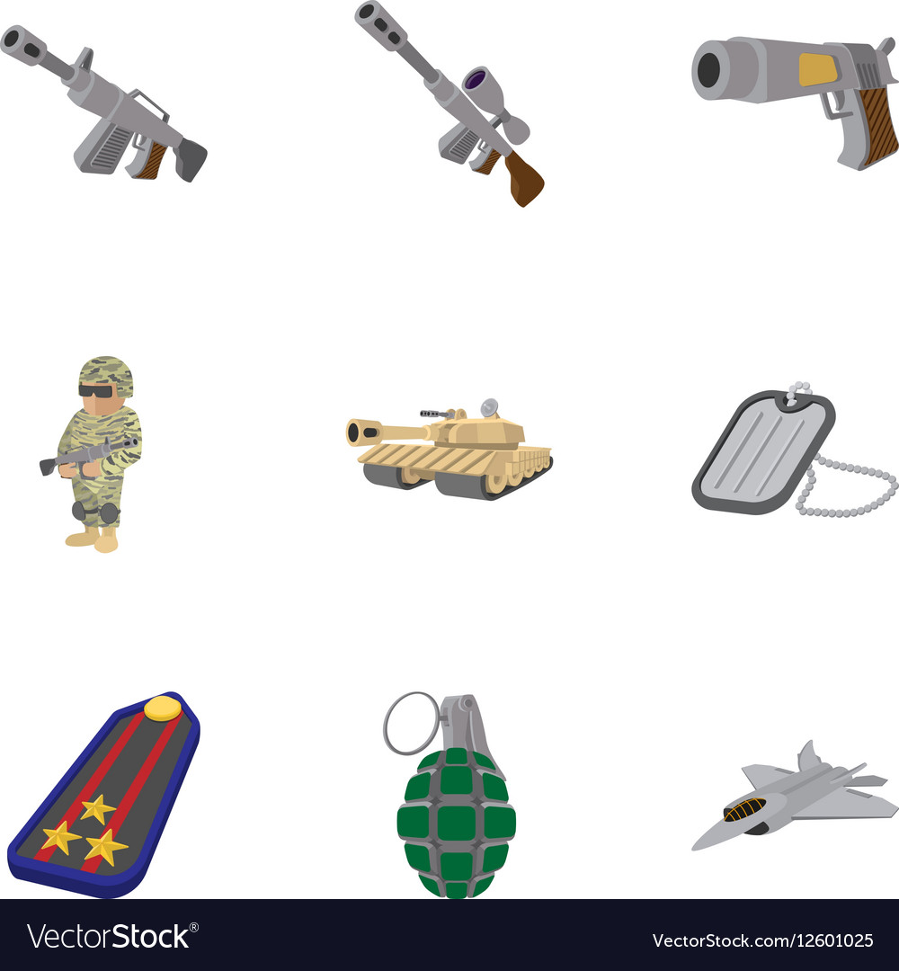Military weapons icons set cartoon style vector image