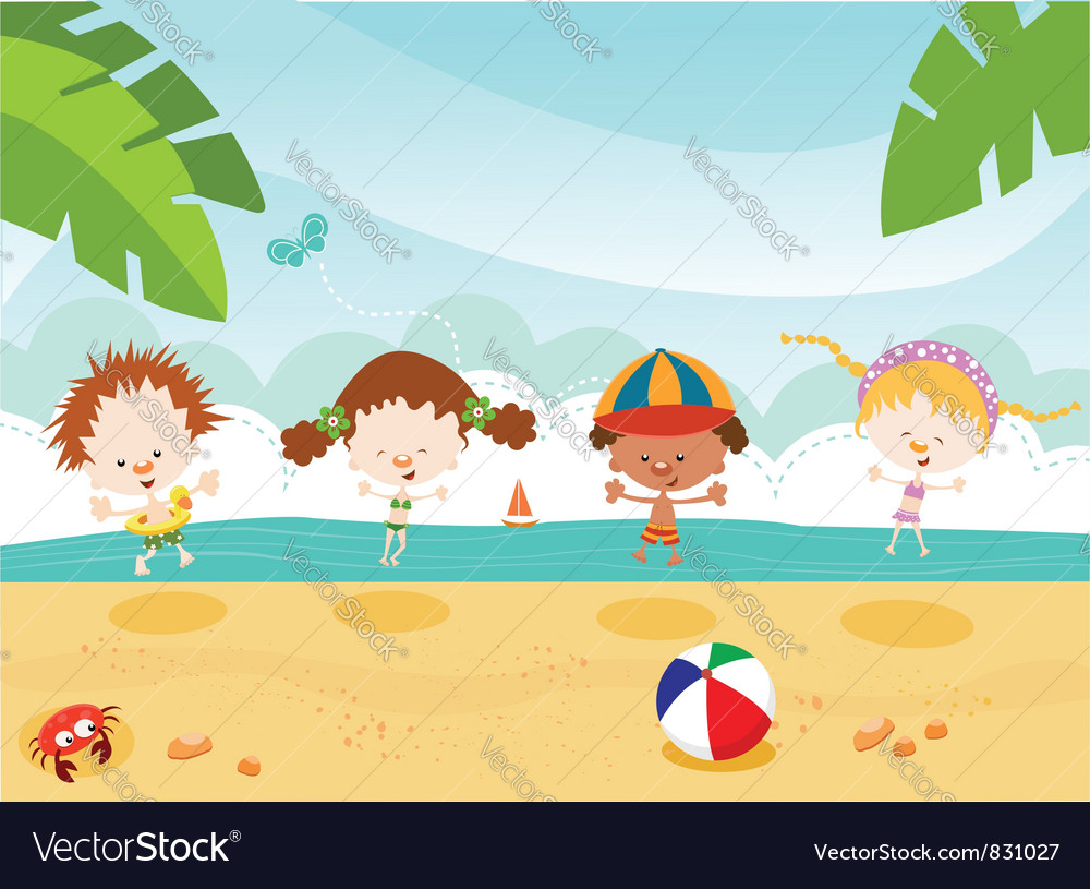 Summer Kids Vector Image
