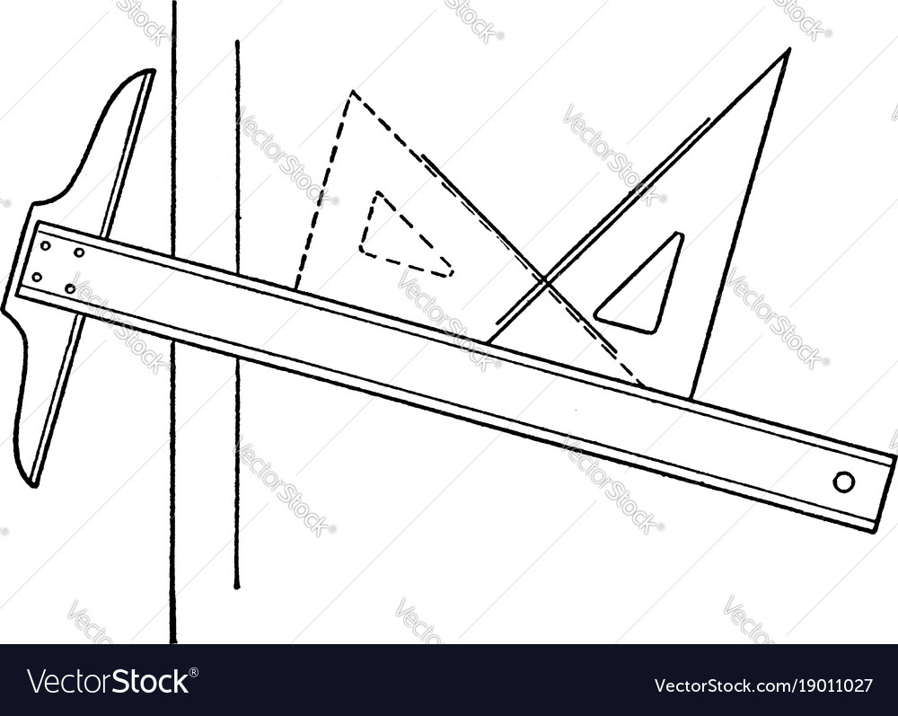 Drawing Using Lines : Drawing perpendicular lines using t square and vector image