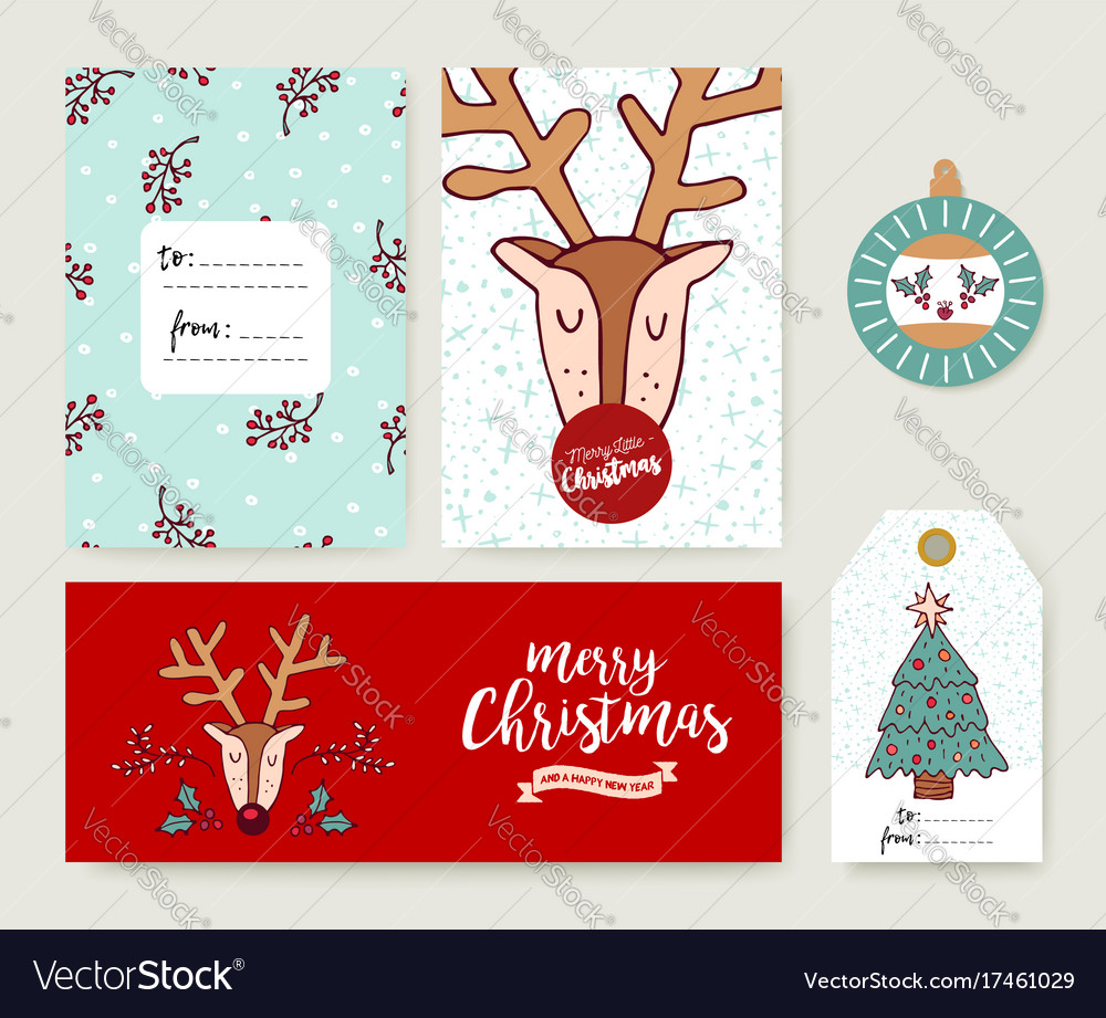 Christmas card template holiday deer cartoon set vector image christmas card template holiday deer cartoon set vector image kristyandbryce Image collections