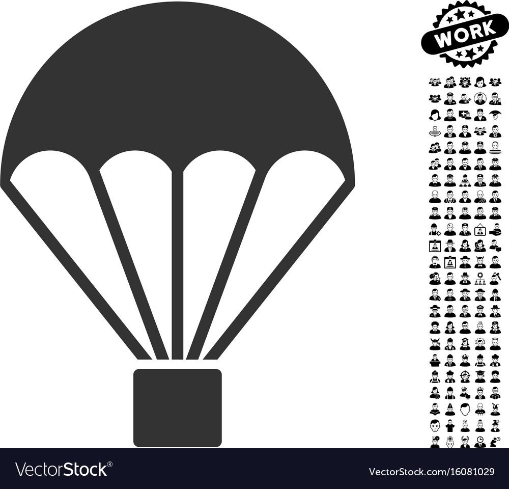 Parachute icon with job bonus vector image