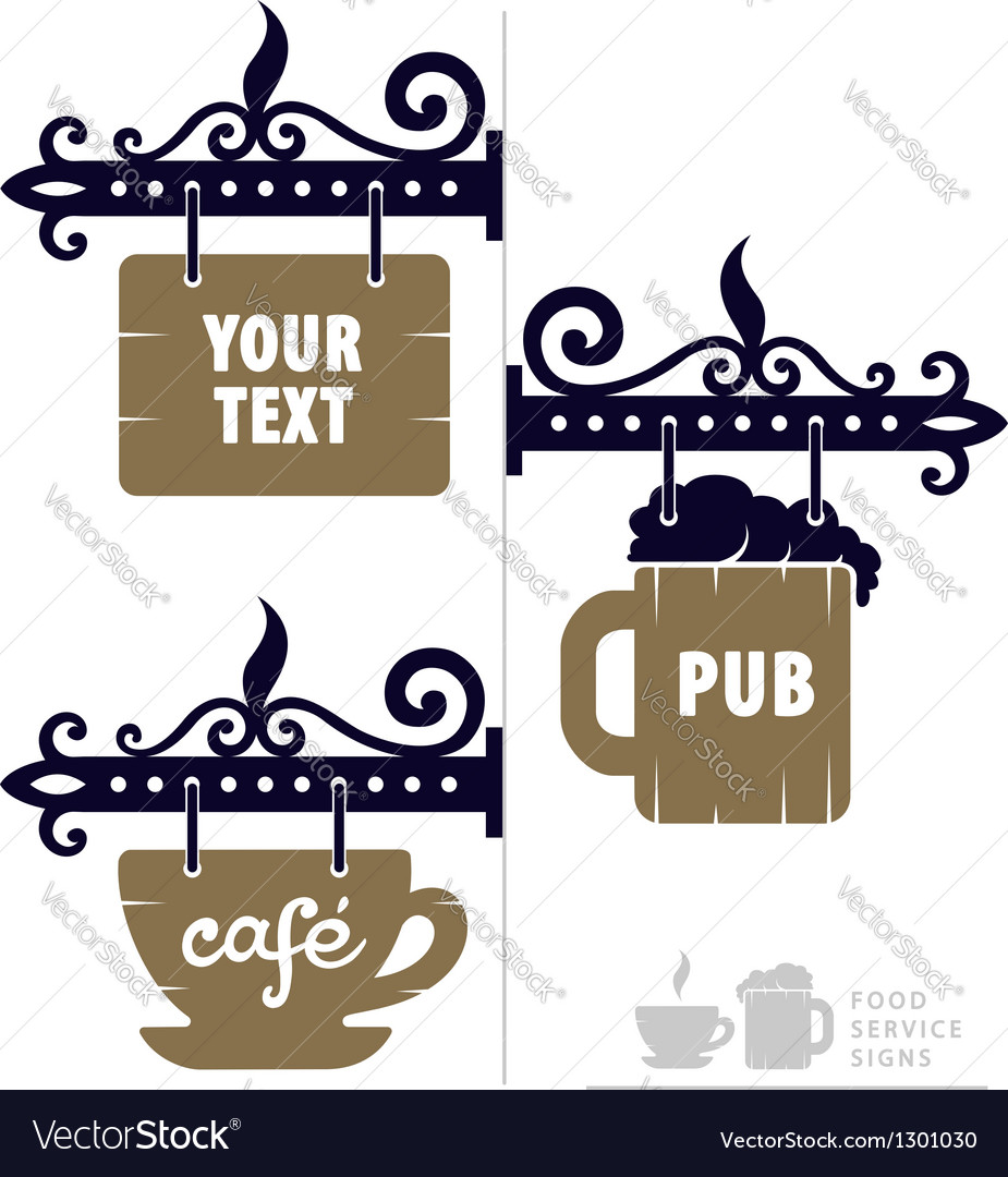 Wooden decorative signs for vector image