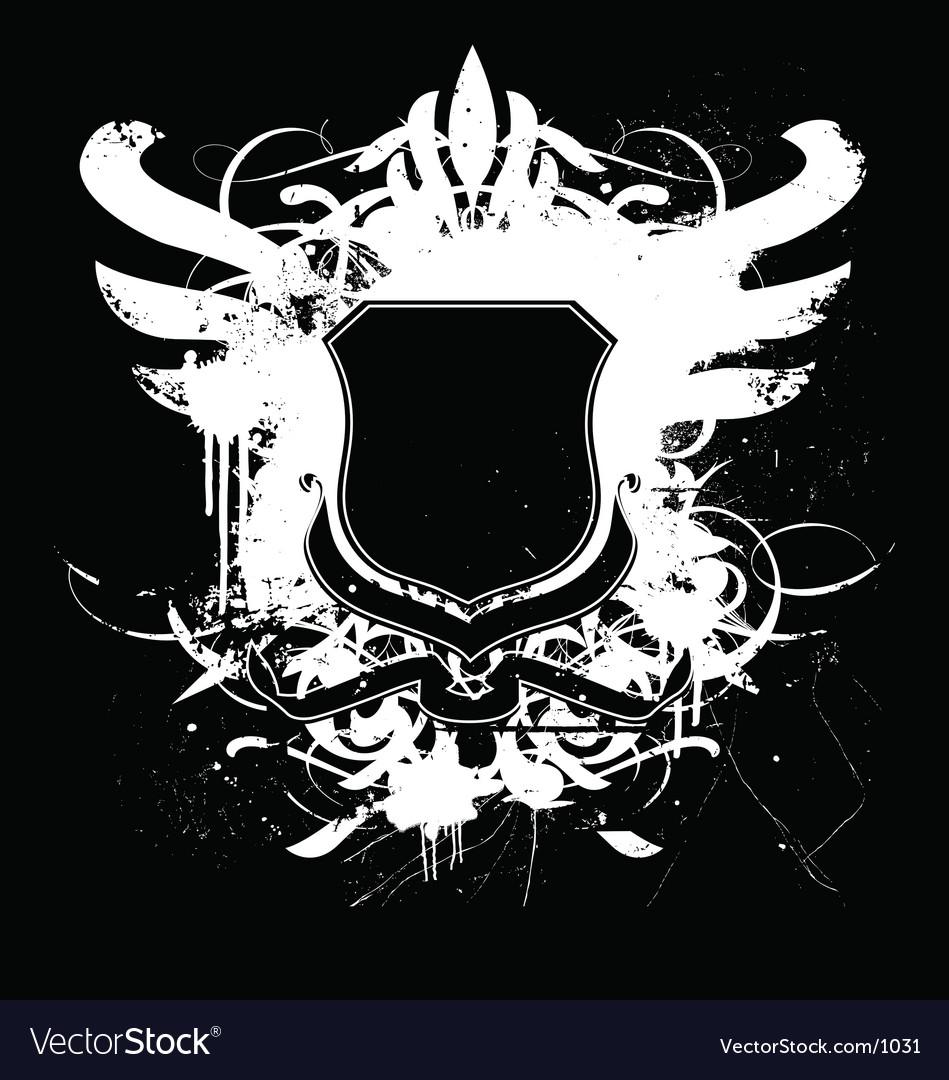 heraldry shield regal grunge vector image