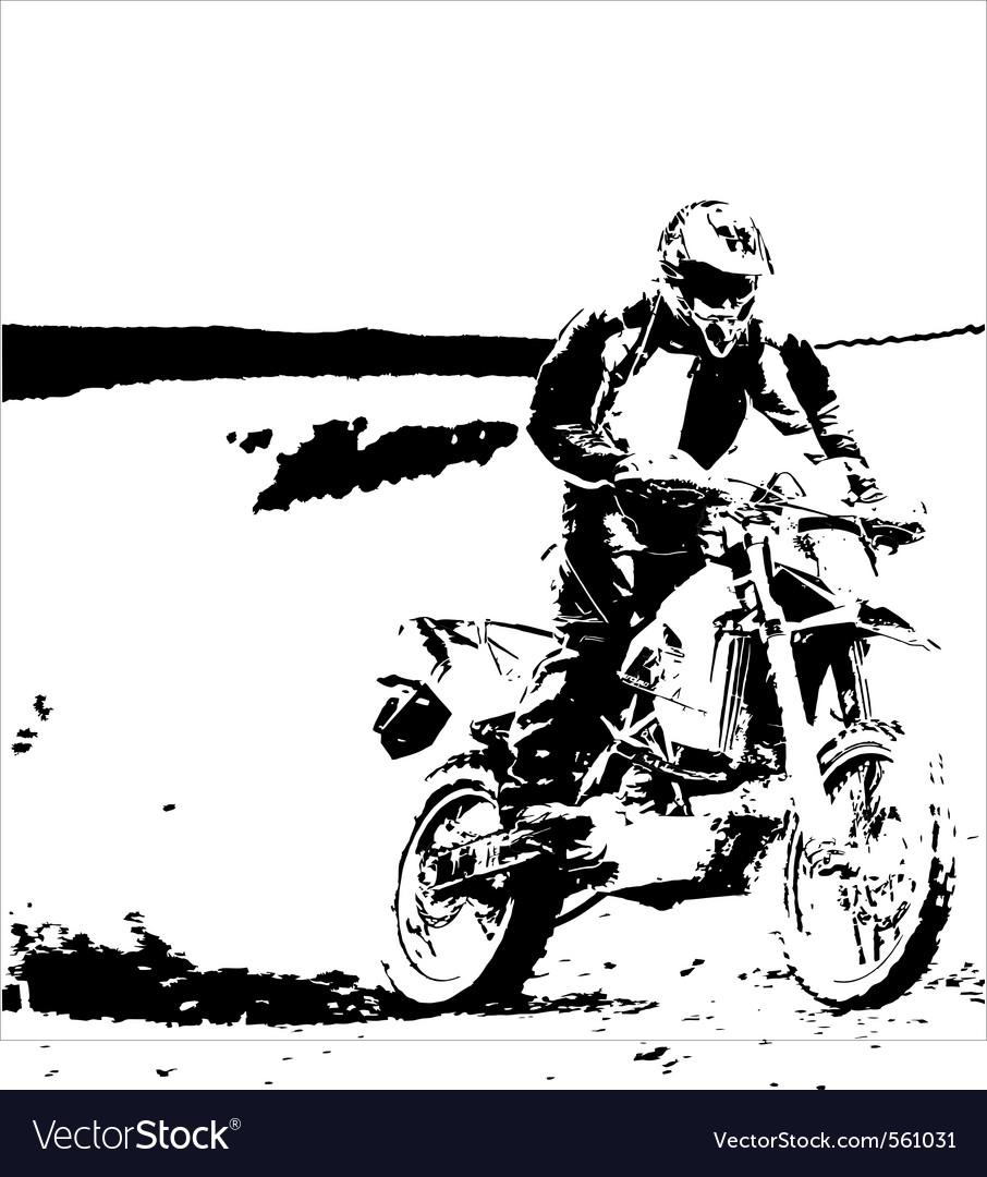 Cross bike silhouette Vector Image