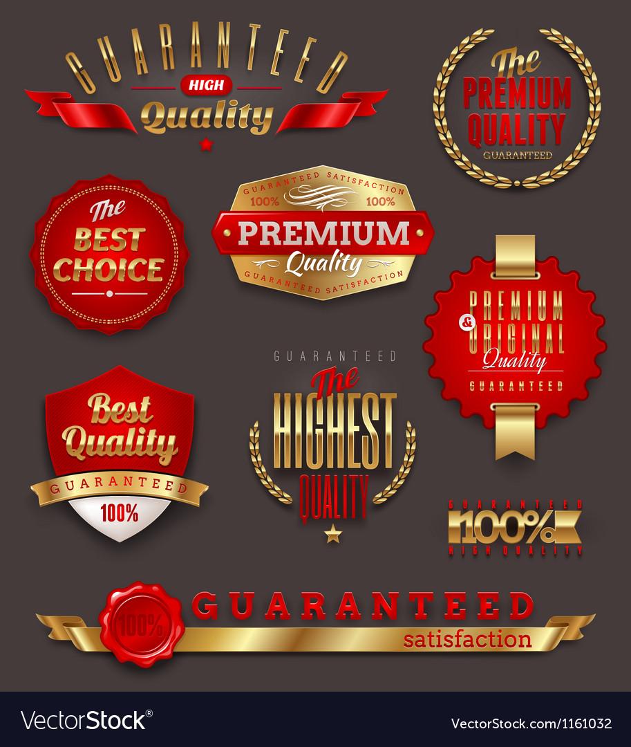 Premium quality golden labels and emblems vector image