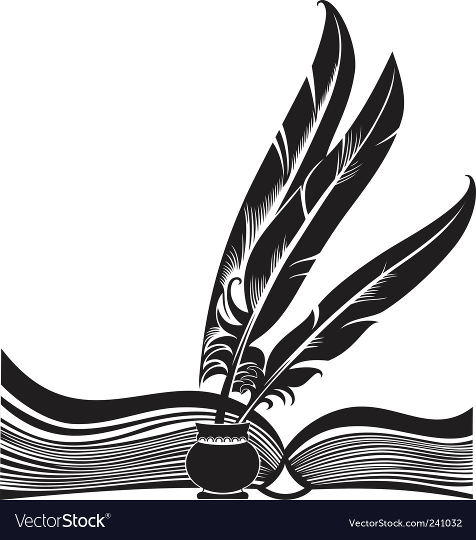 Book and feathers Vector Image