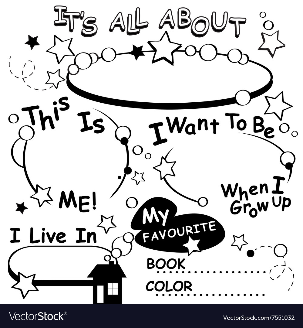 Coloring Page All about me Editable Royalty Free Vector