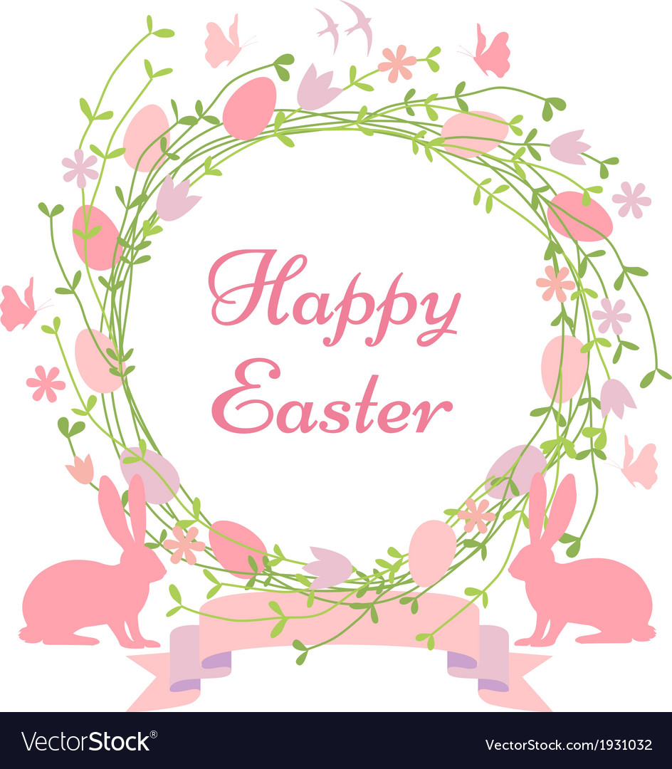 Happy Easter Floral Wreath Royalty Free Vector Image