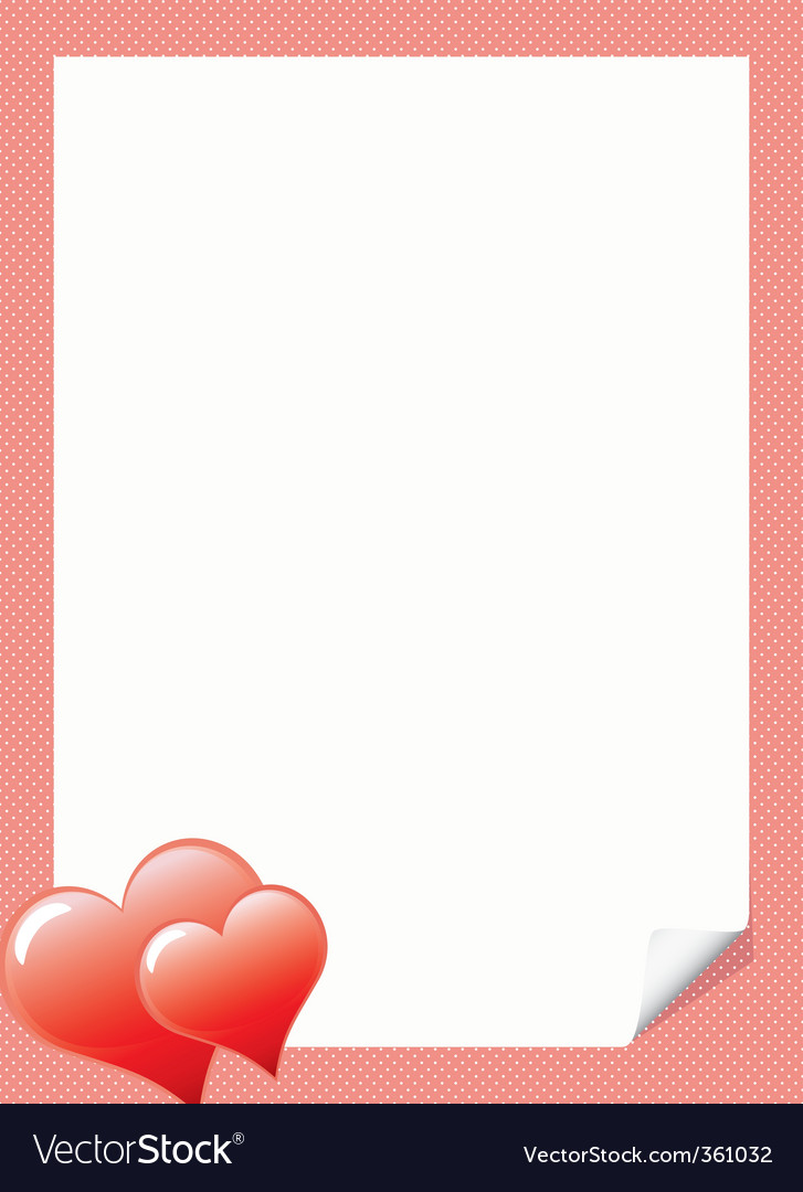 Love Letter Template With Hear Vector Image  Love Letter Templates Free