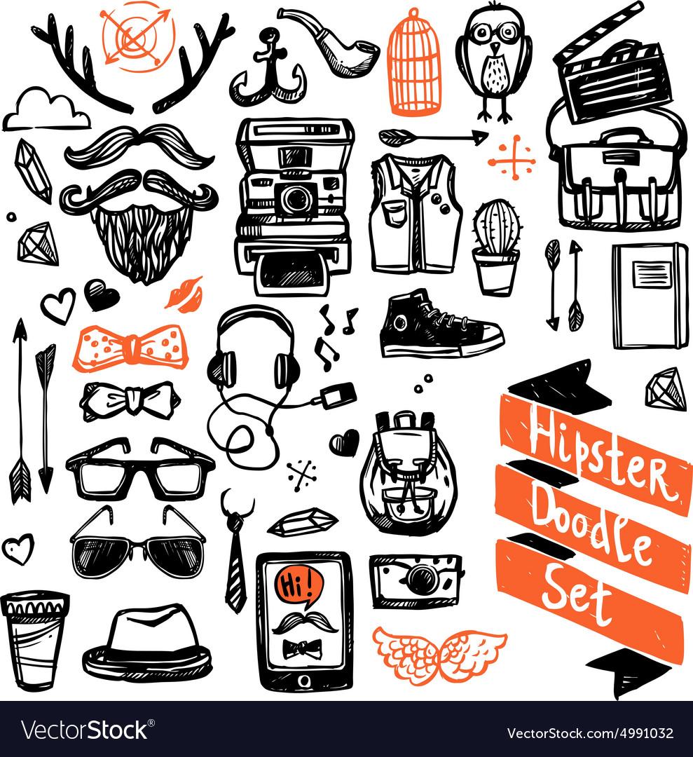 Sketch Hipster Set vector image