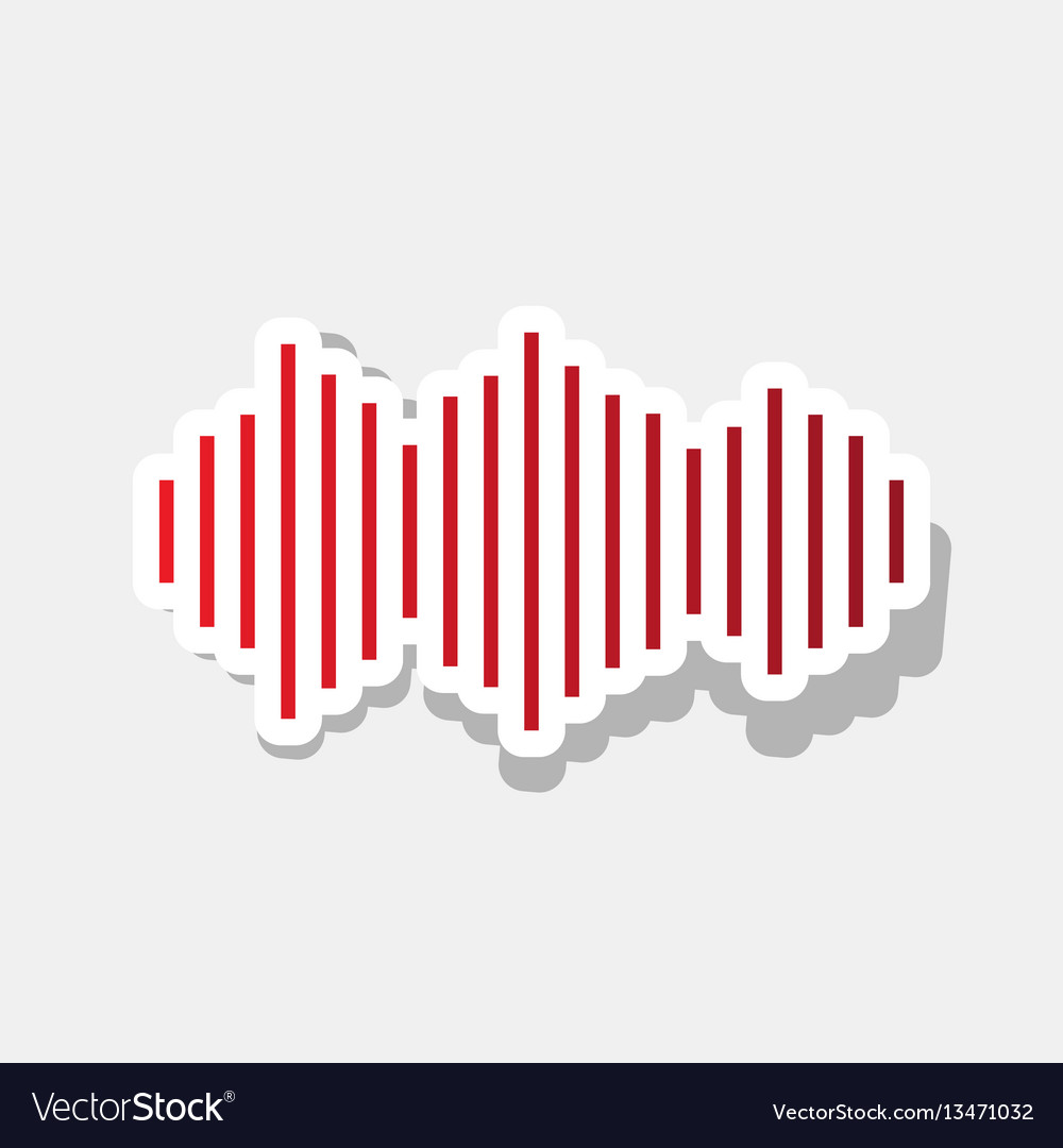 Sound waves icon new year reddish icon vector image