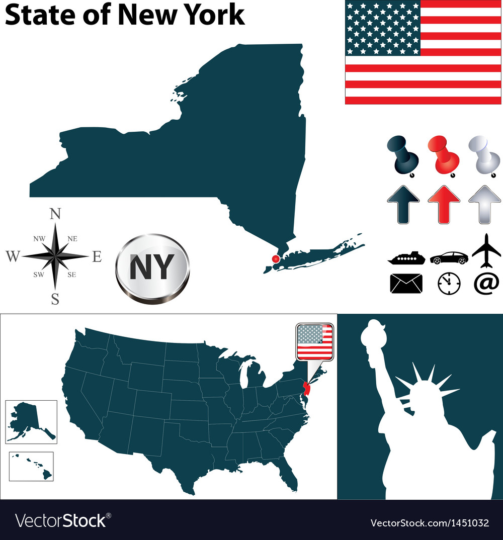 USA Map New York Royalty Free Vector Image VectorStock - Usa map new york
