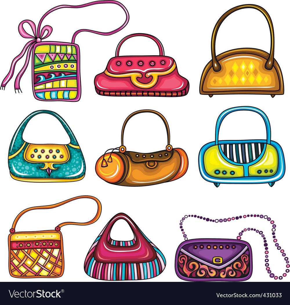 Handbag purses vector image