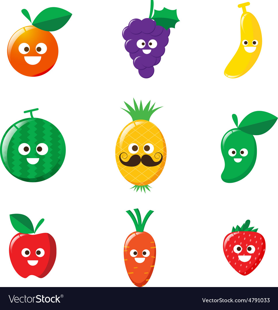 Collection of happy fruit cartoon icon vector image