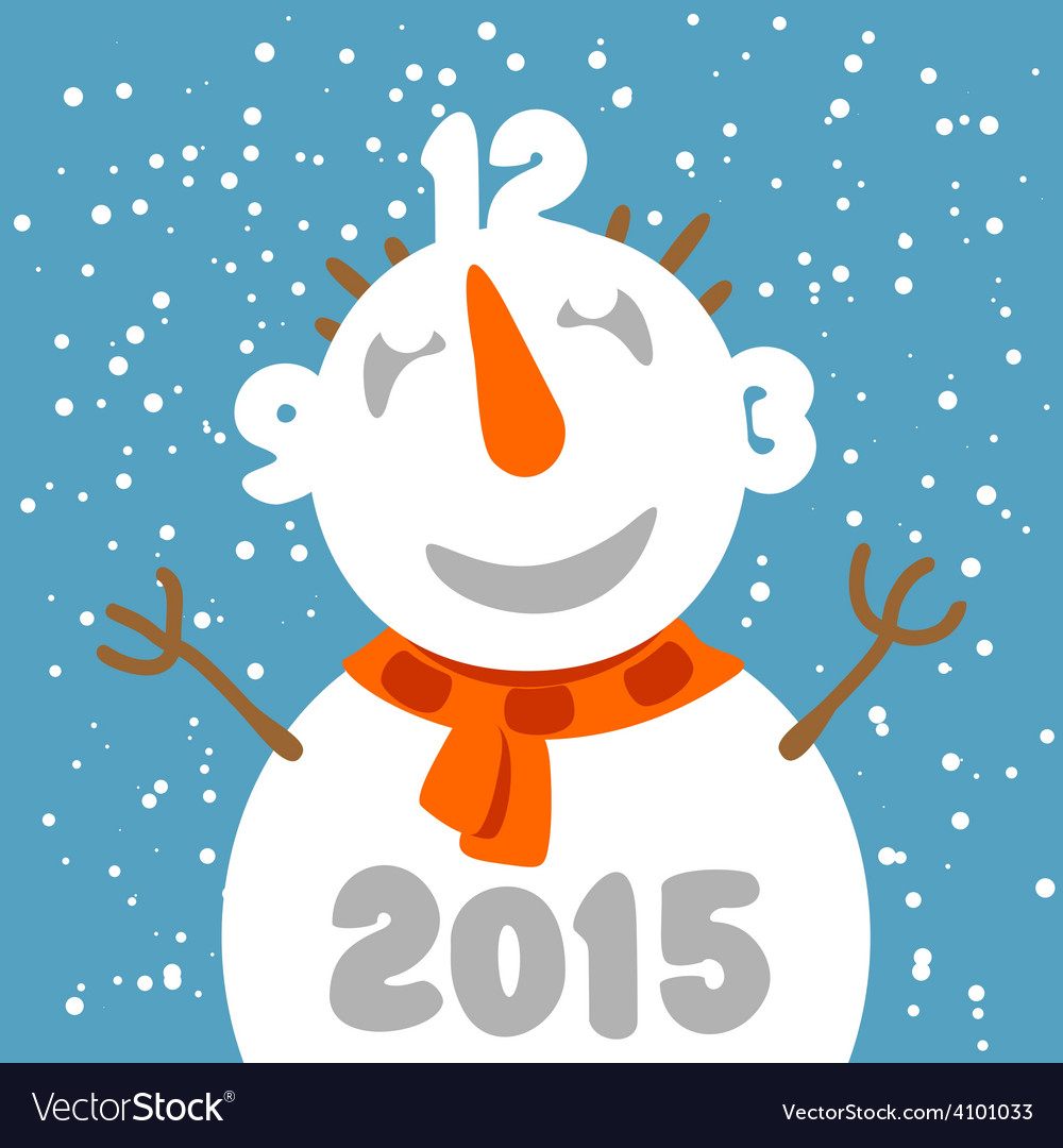 Fun snowman with clock face Greeting card template vector image
