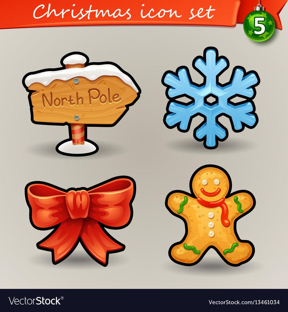 Funny christmas icons-5 vector image