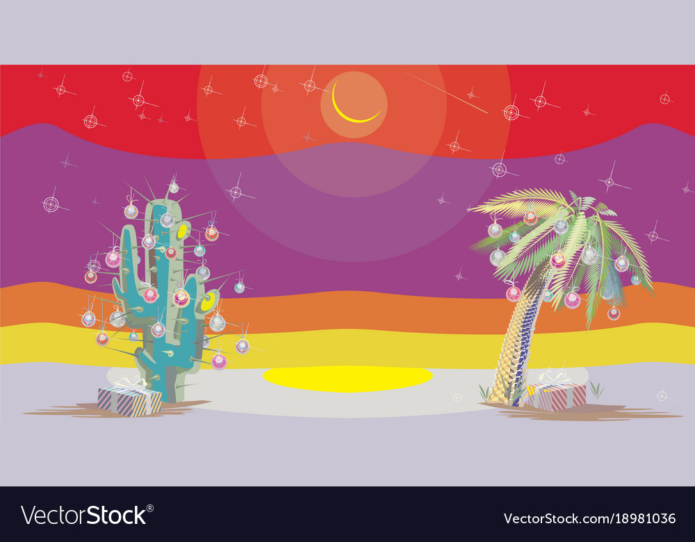 Christmas palm new year vector image