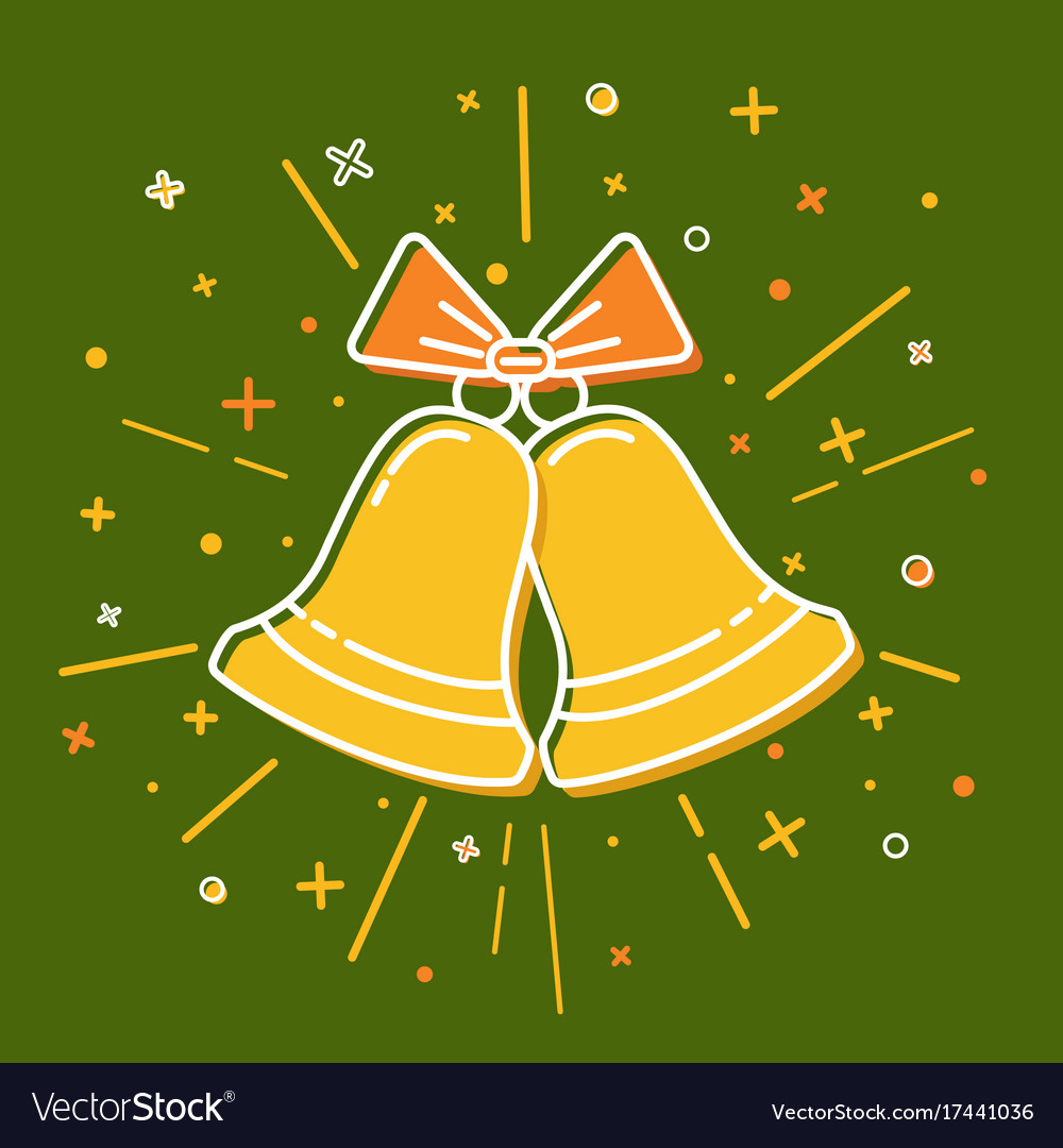 Colored christmas bells icon in thin line style vector image
