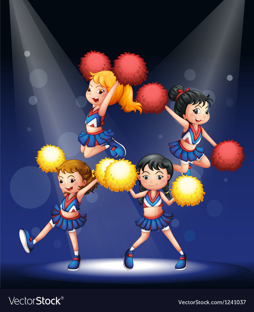Cheerdancers performing at the stage vector image
