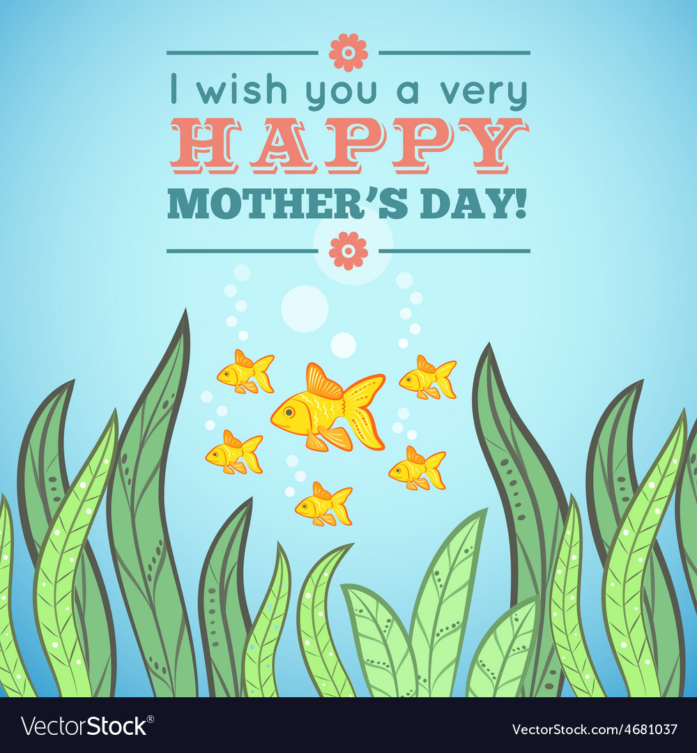 Greeting card design with fish for Mother Day vector image
