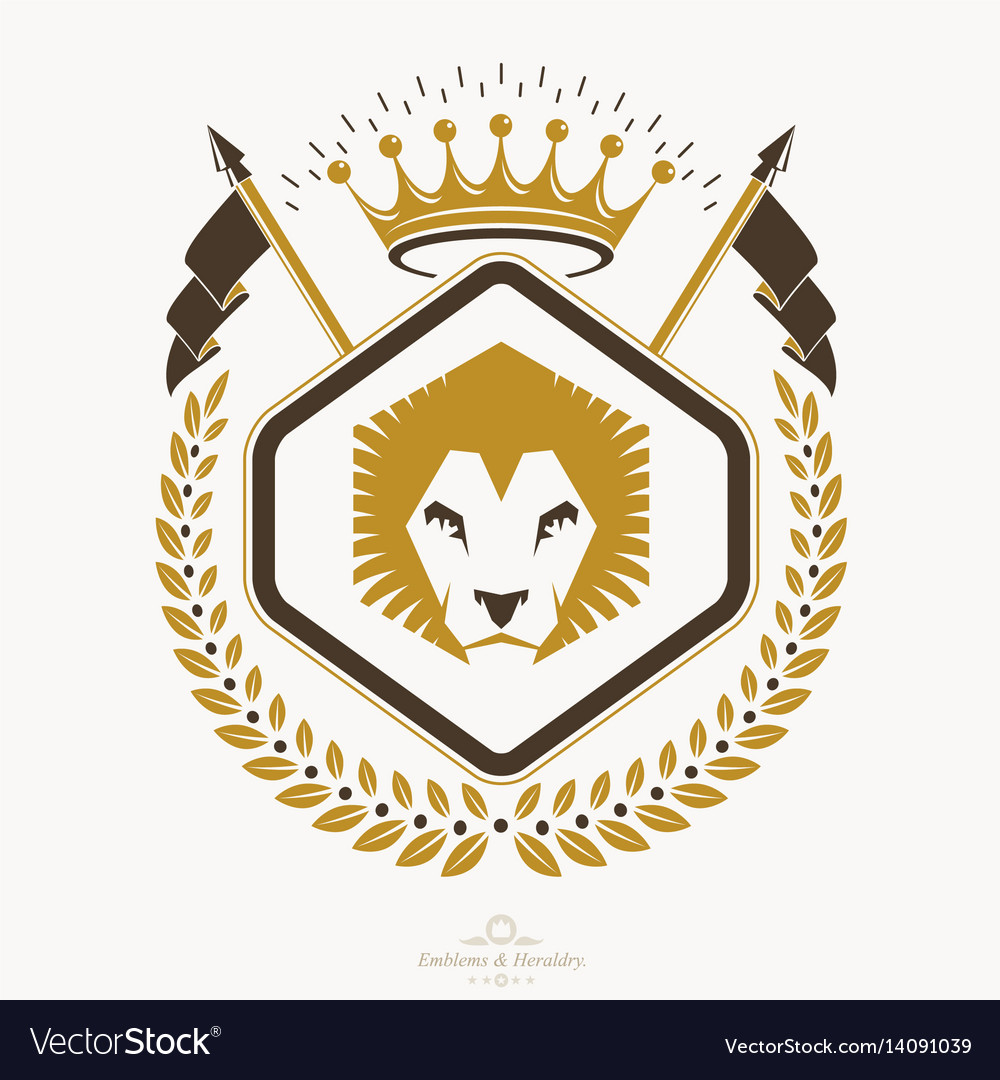 Luxury heraldic emblem template blazon vector image