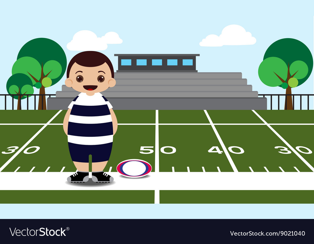 Rugby field rugby player vector image